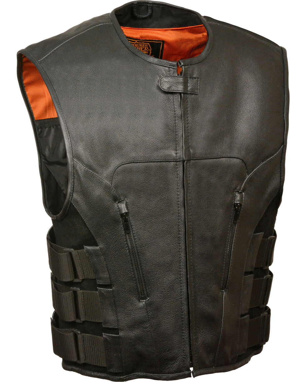Milwaukee Leather Men's SWAT Style Zipper Front Vest - 4X, Black, hi-res