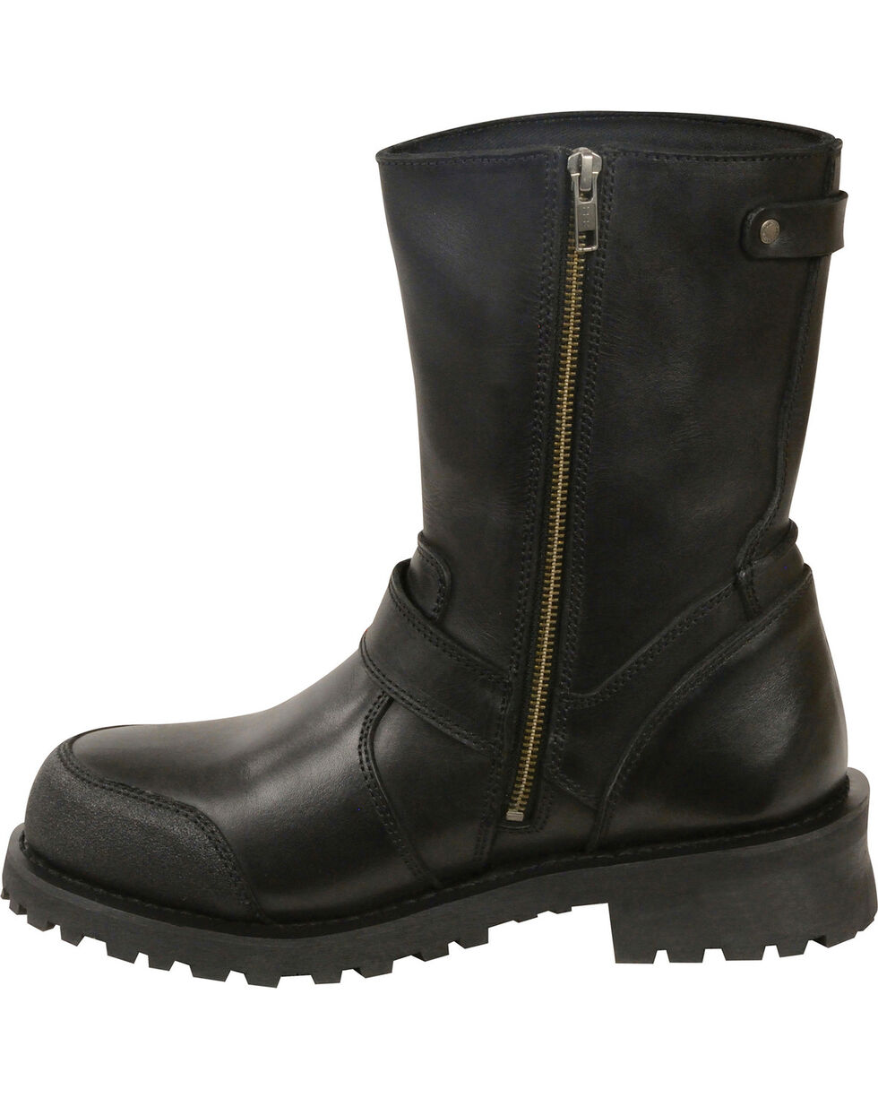 Milwaukee Leather Men's Black Classic Engineer Boots - Round Toe , Black, hi-res