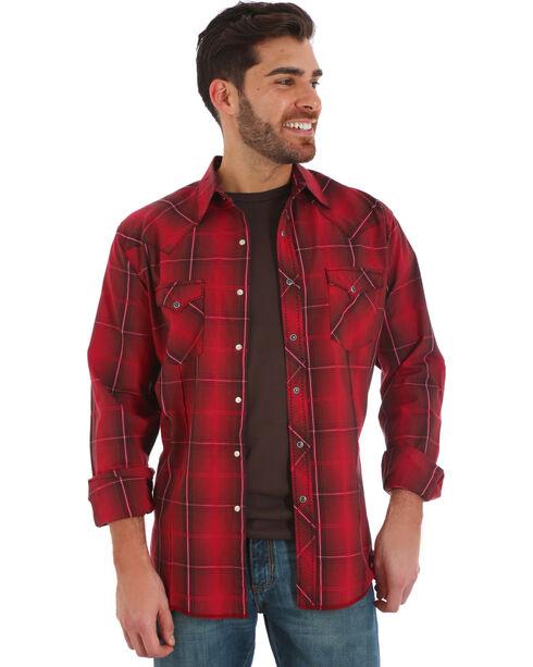 Wrangler Men's Red Plaid Fashion Snap Long Sleeve Shirt, Red, hi-res