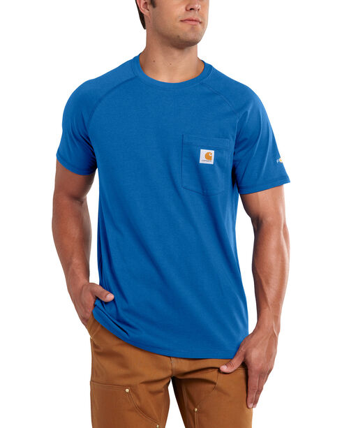 Carhartt Men's Force Cotton Blue Short Sleeve Shirt - Big & Tall, Med Blue, hi-res