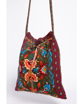 Johnny Was Women's Izamal Embroidered Drawstring Tote Bag , Olive, hi-res