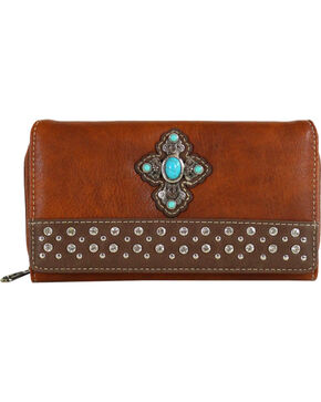Shyanne® Women's Concho Cross Wallet, Brown, hi-res