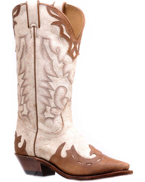 Boulet Women's Hillbilly Golden Wingtip Cowgirl Boots - Snip Toe, White, hi-res