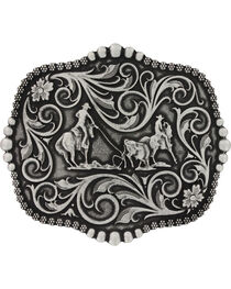 Montana Silversmiths Scalloped Team Roping Attitude Belt Buckle, , hi-res