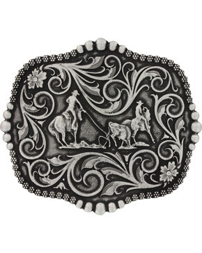 Montana Silversmiths Scalloped Team Roping Attitude Belt Buckle, Silver, hi-res