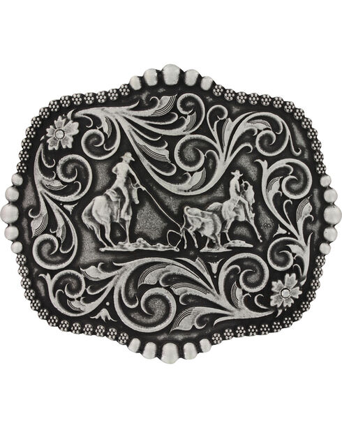 Montana Silversmiths Scalloped Team Roping Attitude Belt Buckle, Silver, hi-res