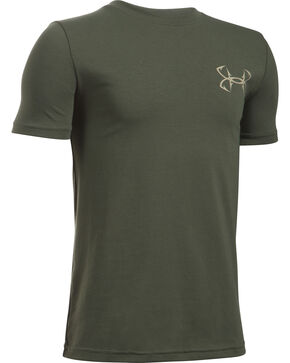 Under Armour Boys' Green Big Mouth Strike T-Shirt , Green, hi-res