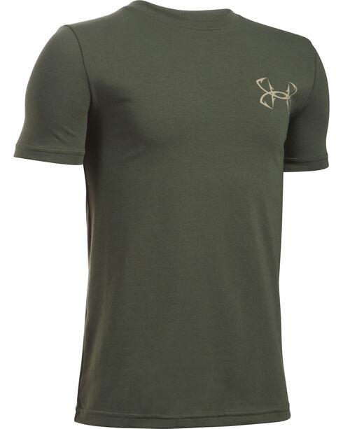 Under Armour Boy's Green Big Mouth Strike T-Shirt , Green, hi-res
