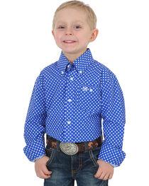 Wrangler Boys' Blue Classic Print Button Down Shirt , , hi-res