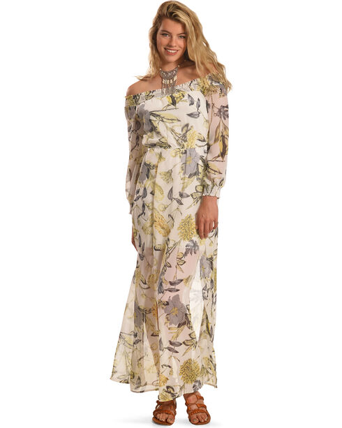 Polagram Women's Off The Shoulder Floral Maxi Dress , Cream, hi-res