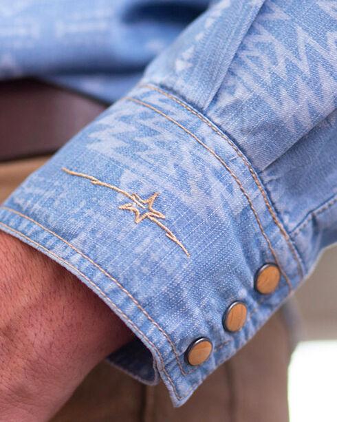 Ryan Michael Men's Aztec Laser Print Long Sleeve Shirt, Indigo, hi-res