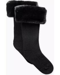 UGG Women's Black Faux Fur Tall Rain Boot Socks , Black, hi-res