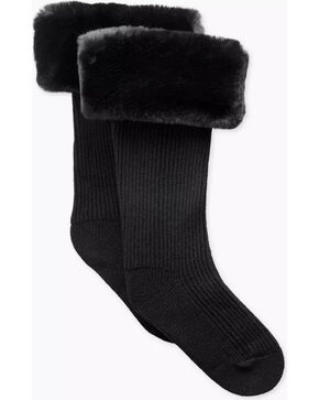UGG Women's Black Faux Fur Tall Rain Boot Socks , Black, hi-res