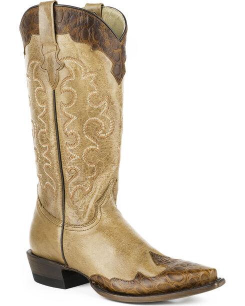 Roper Women's Faux Alligator Wingtip Cowgirl Boots - Snip Toe, Tan, hi-res
