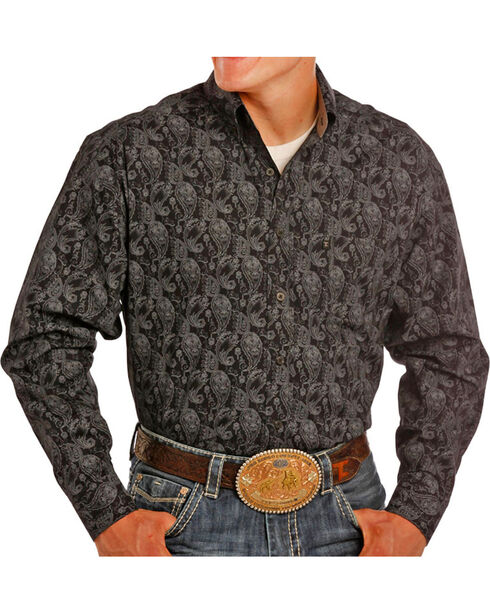Tuff Cooper Men's Paisley Printed Long Sleeve Shirt, Black, hi-res