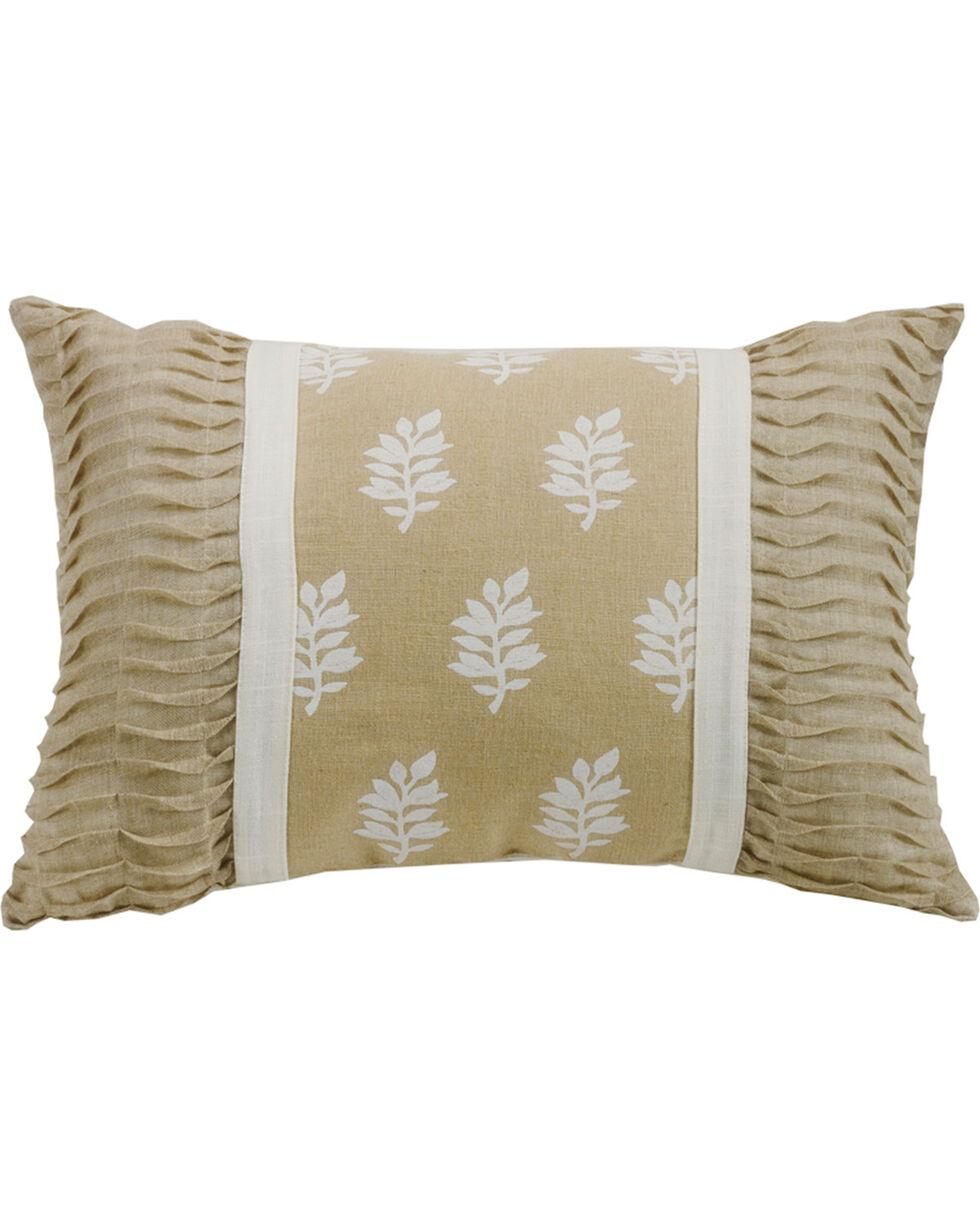 HiEnd Accents Cream Newport Oblong Pillow with Rouching Ends, Cream, hi-res