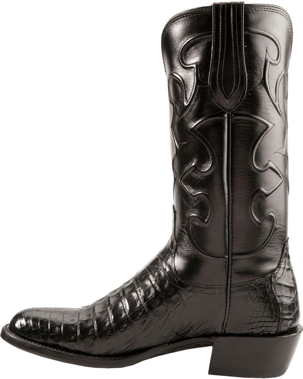 Lucchese Handmade 1883 Black Crocodile Belly Cowboy Boots - Round Toe, Black, hi-res