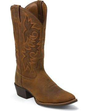 Justin Men's Buffalo Round Toe Western Boots, Copper, hi-res