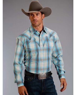 Stetson Men's Plaid Western Long Sleeve Shirt, Blue, hi-res