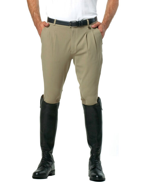 Ovation Men's Euroweave Pleat Knee Patch Breeches, Tan, hi-res