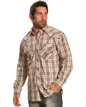 Crazy Cowboy Men's Brown & Grey Plaid Snap Shirt, Grey, hi-res