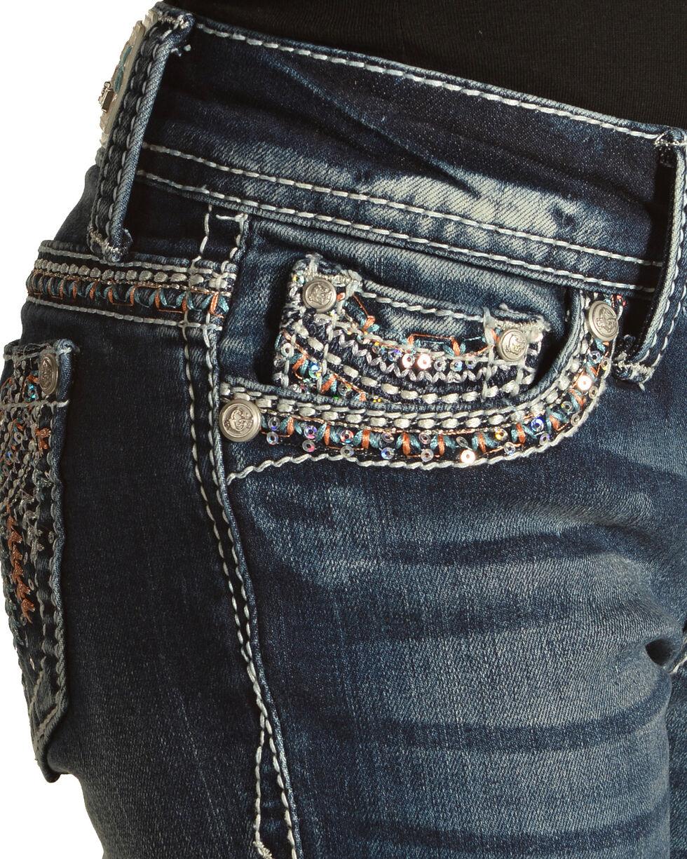 Grace in LA Girls' (7-16) Blue Feather Headdress Jeans - Boot Cut , Blue, hi-res