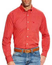 Ariat Men's Orange Boaz Checkered Western Shirt - Tall, , hi-res