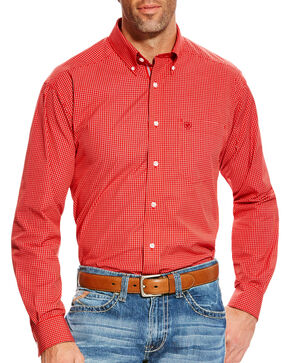 Ariat Men's Orange Boaz Checkered Western Shirt - Tall, Orange, hi-res