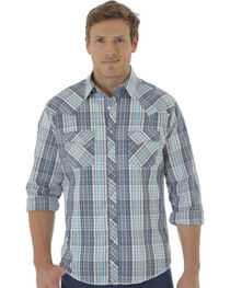 Wrangler Fashion Snap Men's Turquoise & Navy Plaid Western Shirts, , hi-res