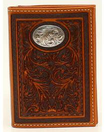 Nocona Floral Tooled Oval Concho Tri-Fold Wallet, , hi-res