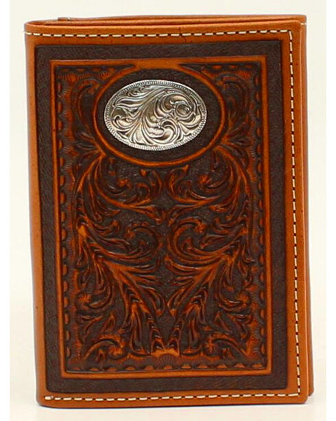 Nocona Floral Tooled Oval Concho Tri-Fold Wallet, Tan, hi-res