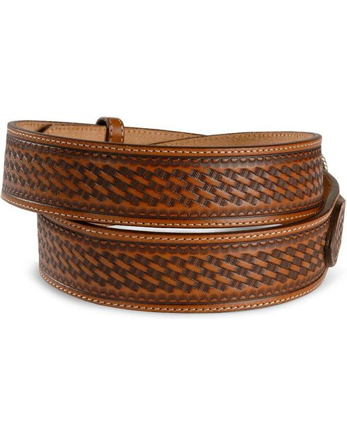 Justin Basketweave Leather Ranger Belt - Reg & Big, Brown, hi-res