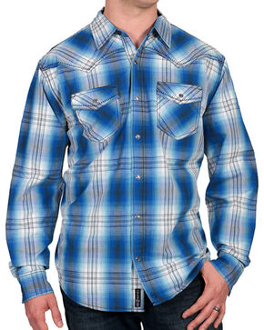 Moonshine Spirit Men's Plaid Print Western Shirt, Blue, hi-res