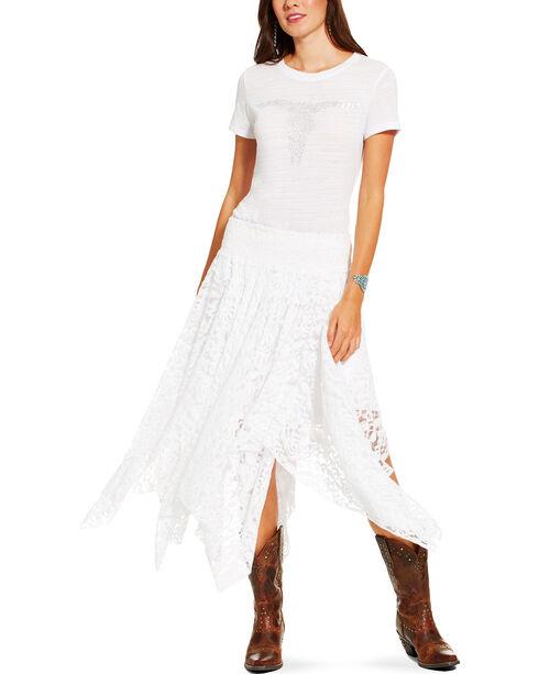 Ariat Women's White Short Sleeve Gem Skull Tee, White, hi-res