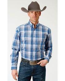 Roper Men's Crystal Blue Plaid Long Sleeve Button Down Shirt - Big & Tall, , hi-res