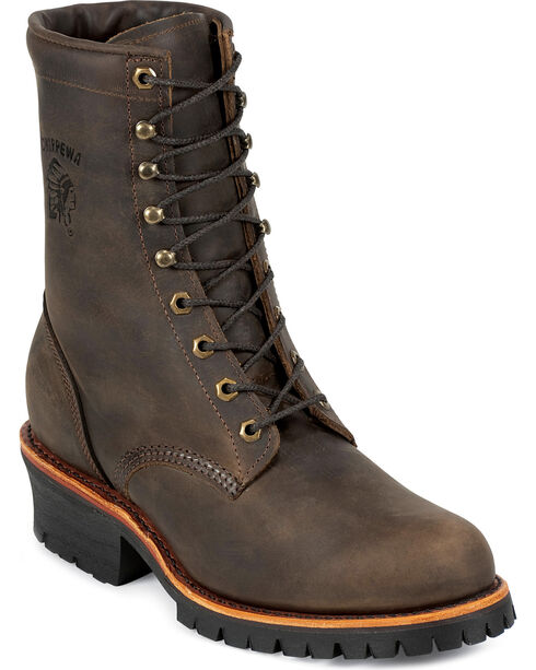"Chippewa Men's 8"" Steel Toe Lace Up Logger Work Boots, Chocolate, hi-res"