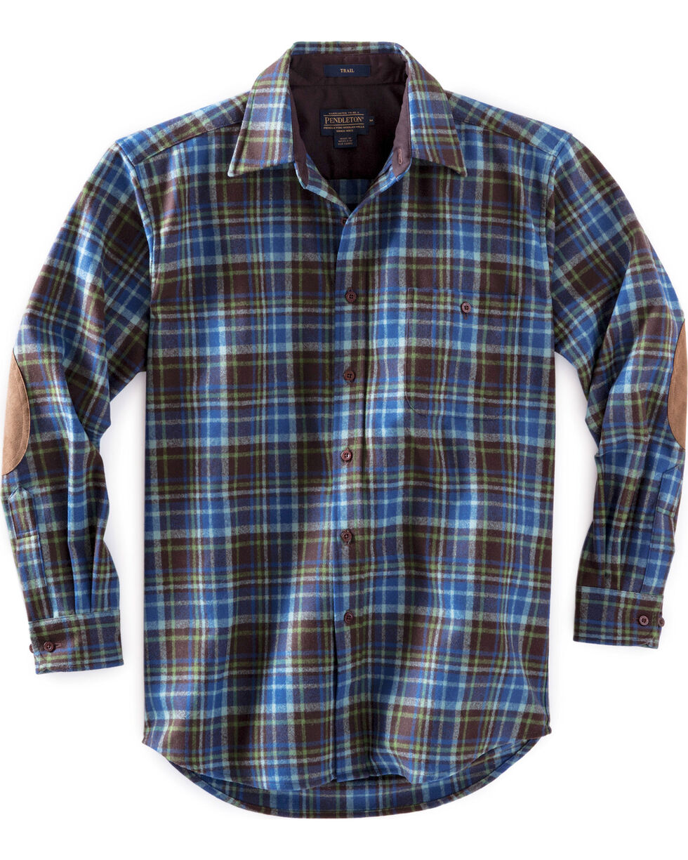 Pendleton Men's Brown and Green Plaid Trail Shirt , Brown, hi-res