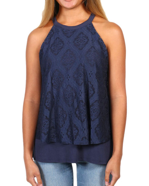 Eyeshadow Women's Layered Lace Tank, Navy, hi-res