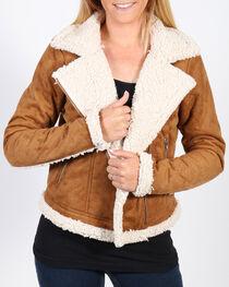 Shyanne Women's Faux Suede Sherpa Lined Moto Jacket, , hi-res