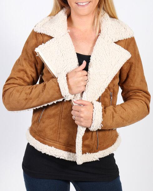 Shyanne Women's Faux Suede Sherpa Lined Moto Jacket, Camel, hi-res