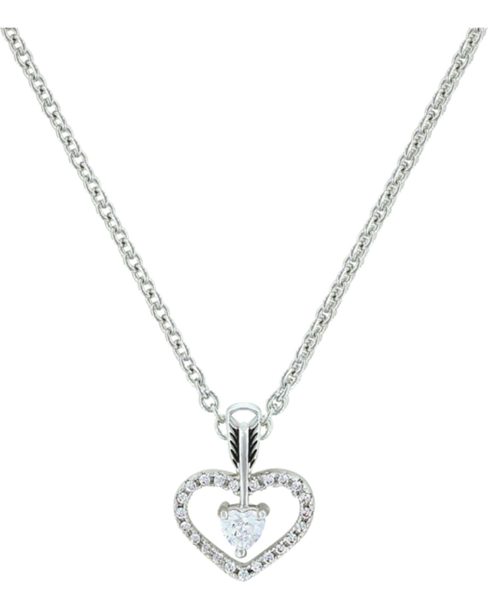 Montana Silversmiths Women's Straight to the Heart Arrow Necklace , Silver, hi-res