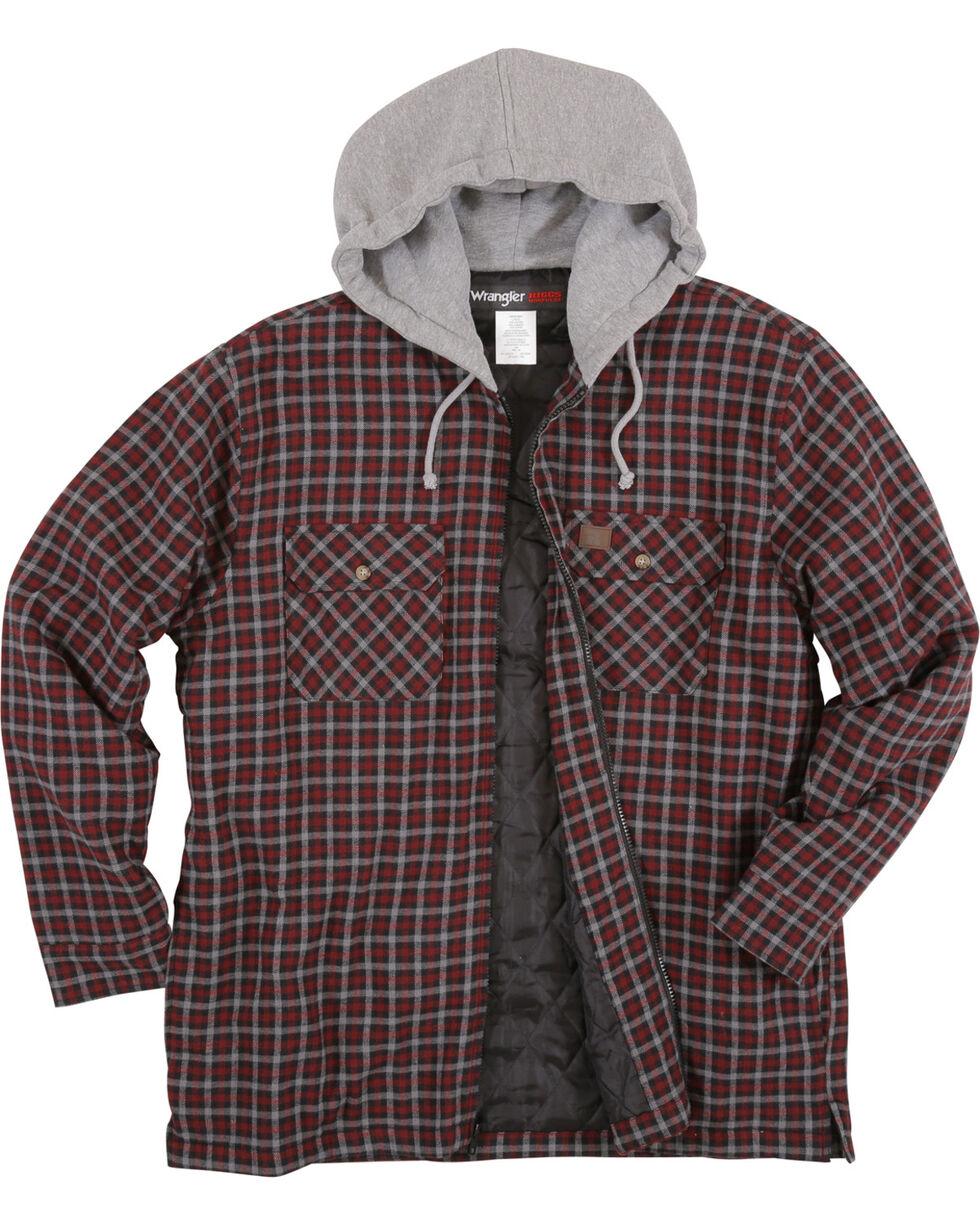 Wrangler Men's Burgundy Riggs Workwear Hooded Flannel Jacket , , hi-res