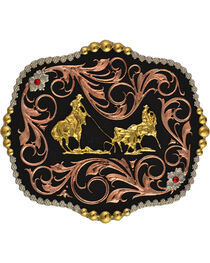 Montana Silversmiths Team Roper Scalloped Belt Buckle, , hi-res
