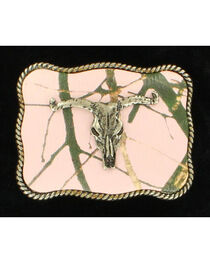 Nocona Rectangle Pink Mossy Oak Camo Longhorn Skull Belt Buckle, , hi-res