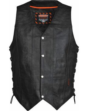 Interstate Leather Men's Justice Vest, Black, hi-res