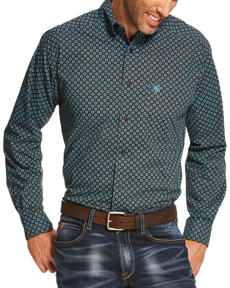 Ariat Men's Brown Pickford Print Long Sleeve Shirt - Big, Brown, hi-res
