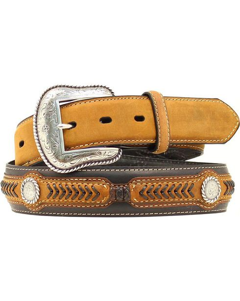 Nocona Leather Laced Concho Belt, Black, hi-res