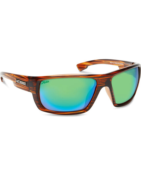Hobie Men's Shiny Brown Wood Grain Mojo Polarized Sunglasses, Brown, hi-res