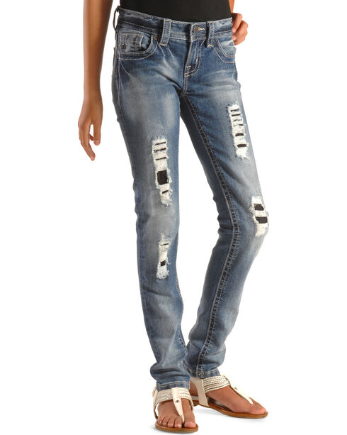 Miss Me Girls' Ripped and Repaired Skinny Jeans , Indigo, hi-res