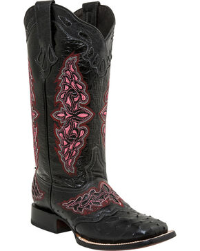Lucchese Women's Amerberlyn Full Quill Ostrich Exotic Boots, Black, hi-res